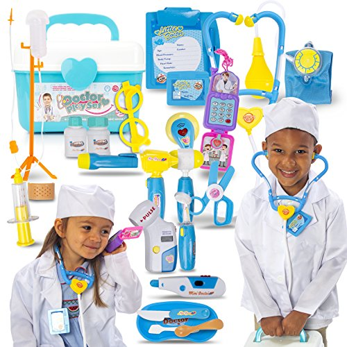 Joyful Premium Doctor Play Set with Lab Coat, Phone and 20 Pieces of Doctor Pretend Tools. Realistic, Safe & Fun Doctor Role Play Educational Toy to Develop Kids Imagination, Cognitive and Fine Skills -
