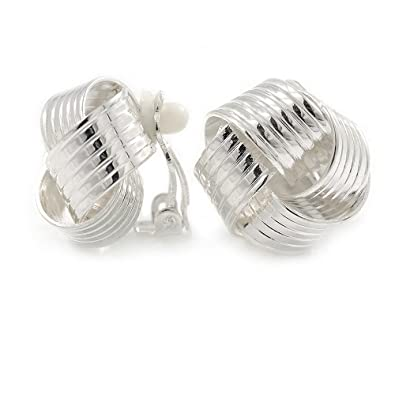 Light Silver Tone Textured Knot Clip On Earrings - 20mm D 4ThfAHnz