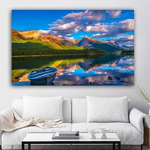 yhyxll Cartel Lienzo Pintura Paisaje montaña Nube Lago Pared ...