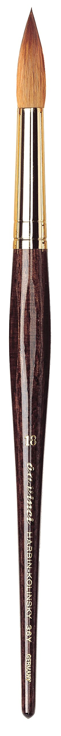 da Vinci Watercolor Series 36Y Paint Brush, Round Harbin Kolinsky Red Sable with Anthracite Hexagonal Handle, Size 18