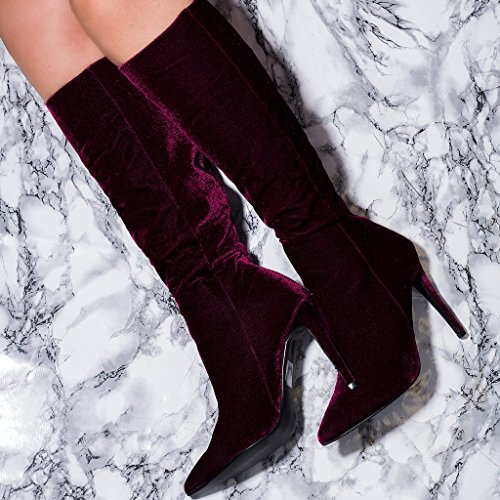 High Tall KIND Pointed Toe Knee Stiletto Heel Women's Zip SPYLOVEBUY Style Burgundy Boots High Velvet Z1wUxvXqw