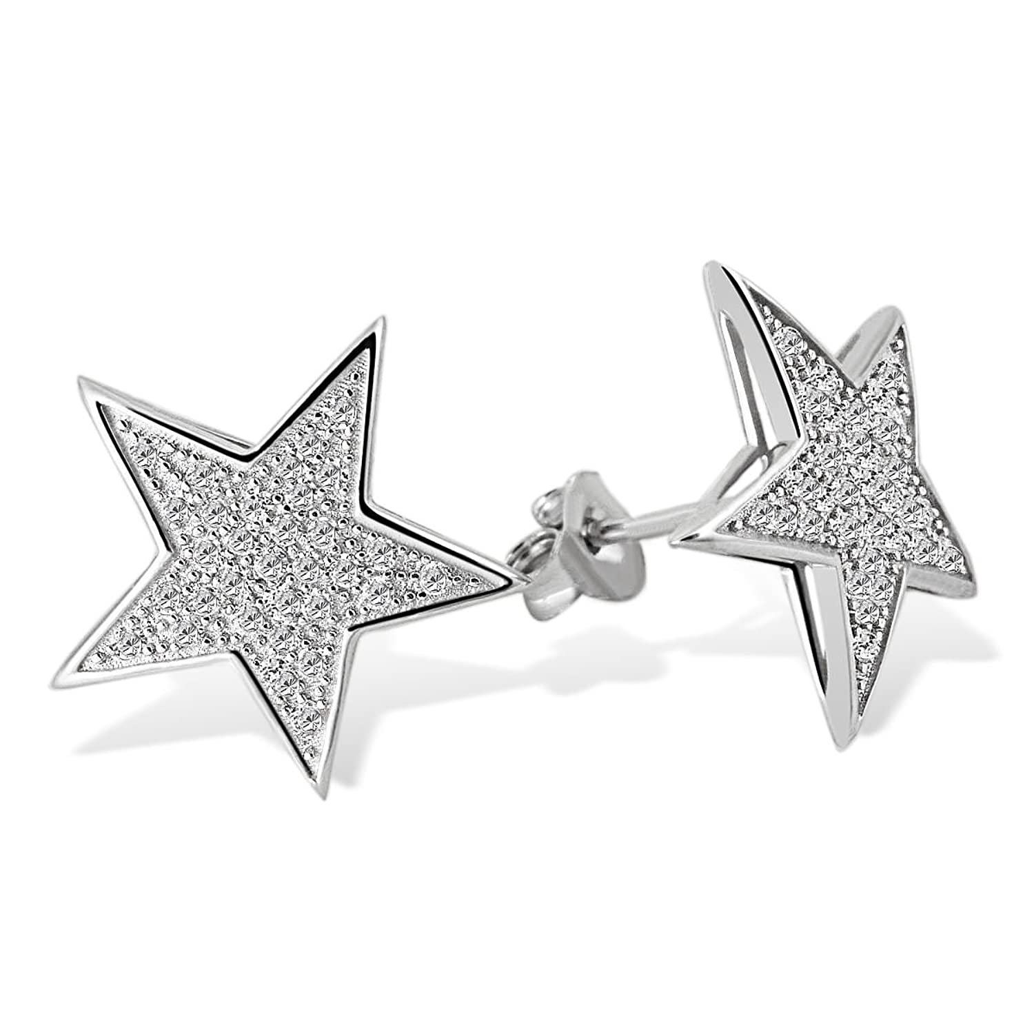 Goldmaid Women/'s 925 Sterling Silver Star Necklace with white Zirconia