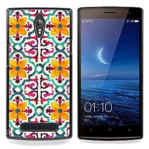 """Pulsar Snap-on Series Teléfono Carcasa Funda Case Caso para OPPO Find 7 X9077 X9007 , Modelo de flor estilizada Amarillo"""""""