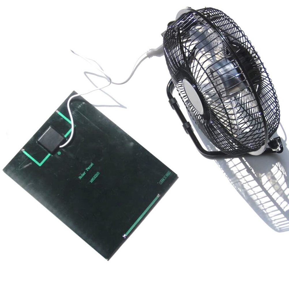 VORCOOL USB Fan Solar Powered 360 Degree Rotation Desktop Fan Outdoor Home Chicken Coop Greenhouse Cooling Ventilation System,5.2W 8Inch