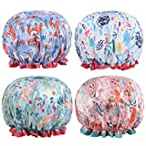 Shower Cap, 4 Pack Reusable Waterproof Adjustable Double Layered Mermaid Pattern Bath Cap for Long Hair