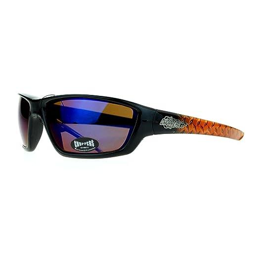 b2e3834057 Choppers Steel Diamond Plate Arm Rectangular Warp Motorcycle Sunglasses  Black Orange Blue