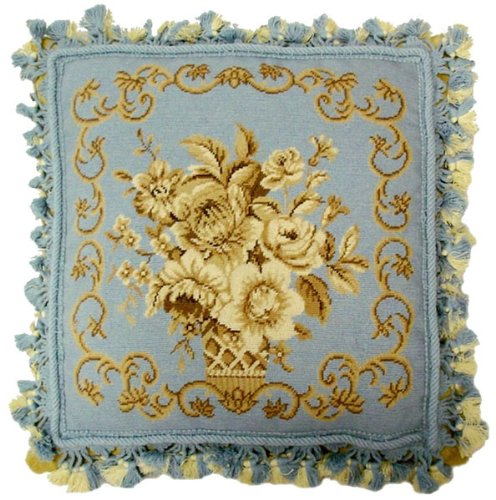 Deluxe Pillows Blue Elegance - 16 x 16 in. needlepoint pillow ()