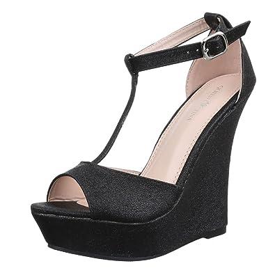 Design Ital 36 Noir Amazon compensées femme Noir chaussures HnUnxT4BA