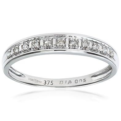 Bague pour Femme en Or Blanc 375/1000 (9 Cts) 1 Gr - Diamant 0.005 Cts