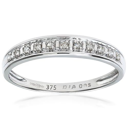 a1b003355ee8 Naava Anillo de Mujer con Oro blanco de 9 quilates (375) con Diamantes  Brillantes - Tamaño 10  Amazon.es  Joyería