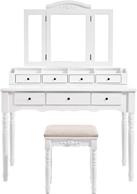 Vasagle Vanity Set Tri Folding Necklace Hooked Mirror 7 Drawers 6 Organizers Makeup Dressing Table With Cushioned Stool Easy Assembly For Women White Urdt06m Home Kitchen