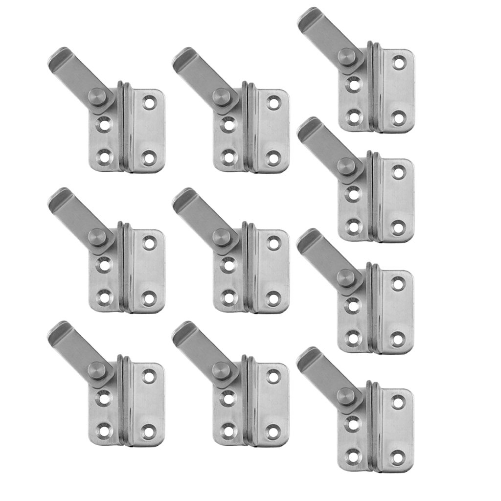 Baoblaze 10pcs Stainless Steel Safety Door Latches Gate Latches Lock Buckle for Pet Gate Cabinet Furniture Window Brushed Finish