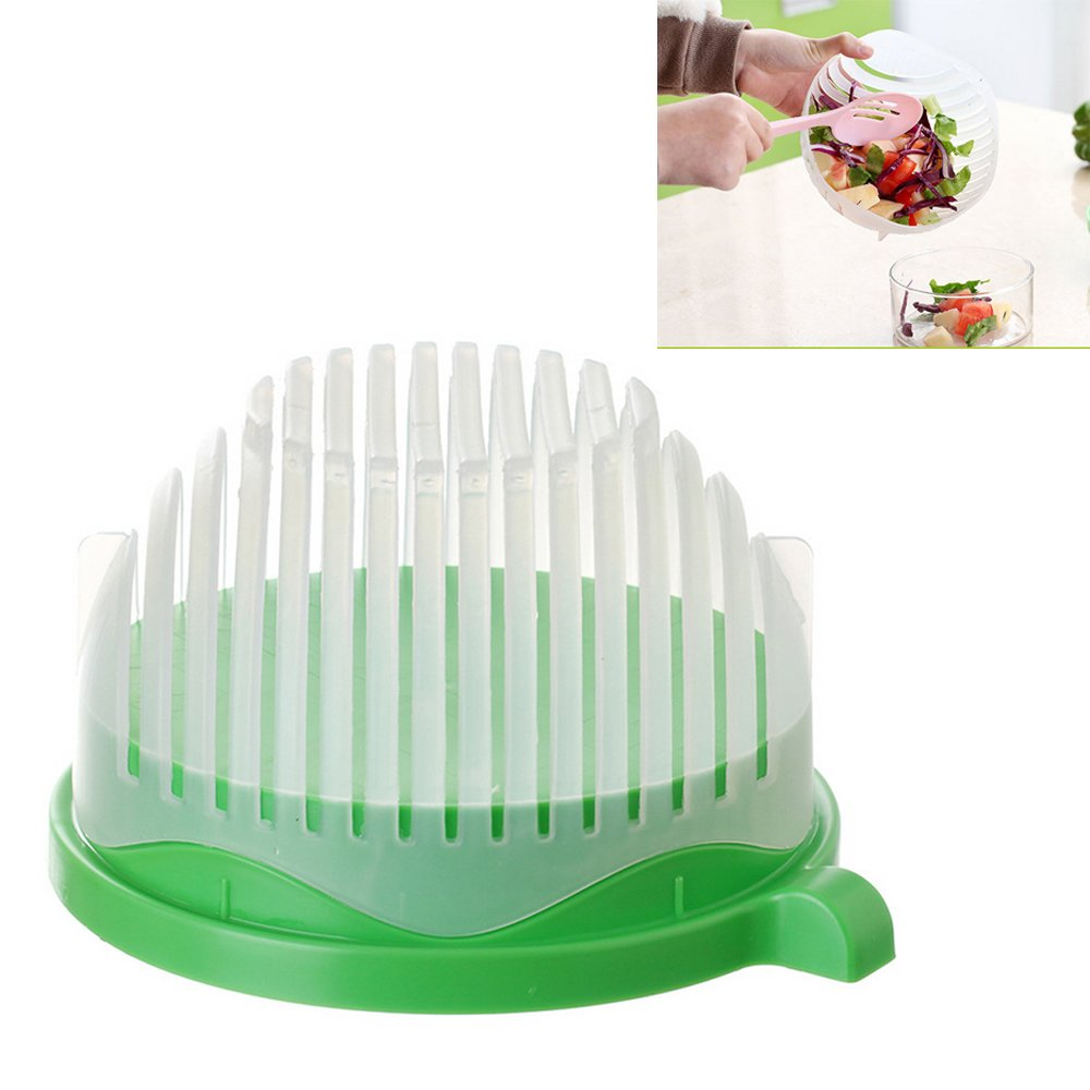 60 Second Salad Cutter Bowl Kitchen Gadget Tools Vegetable Chopper Washer Cutter Quick Salad Maker Chopper