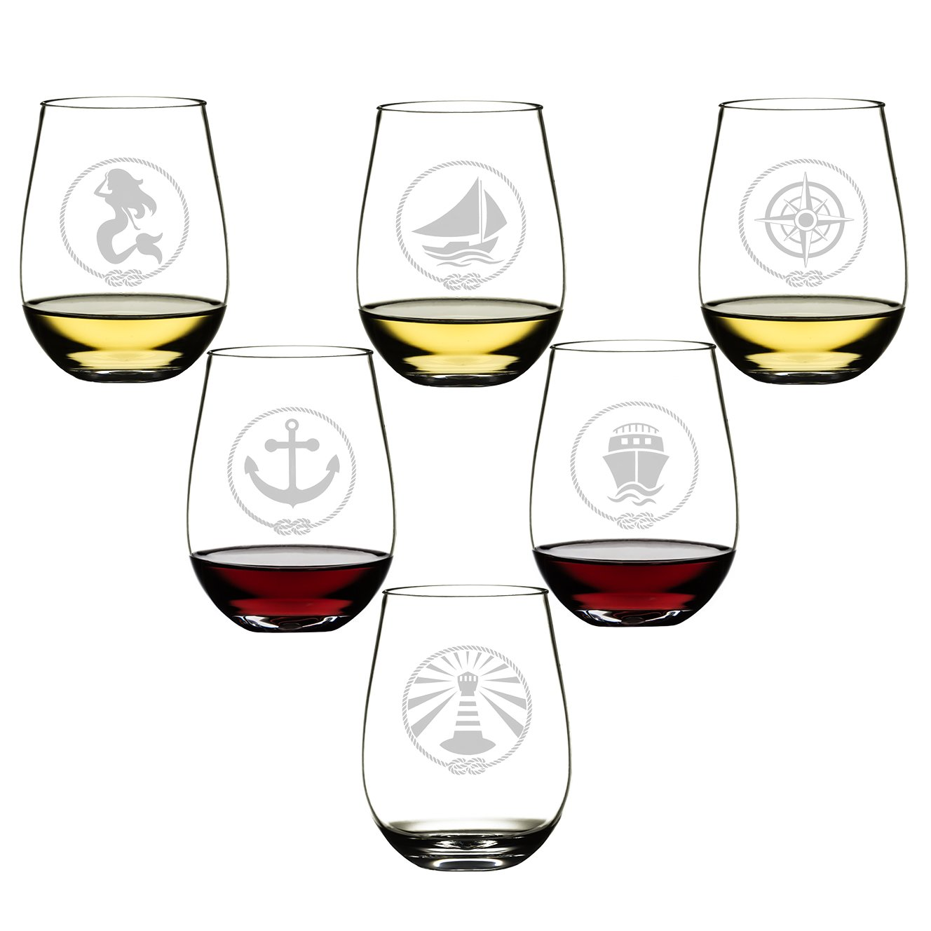SET OF 6 -Stemless Wine Glasses-Nautical Themed, Resturant Quility Plastic, 14oz, Best Shatter Proof Drinking Glass for Wine, Cocktails or gifts by DaJosie Co. (Image #1)