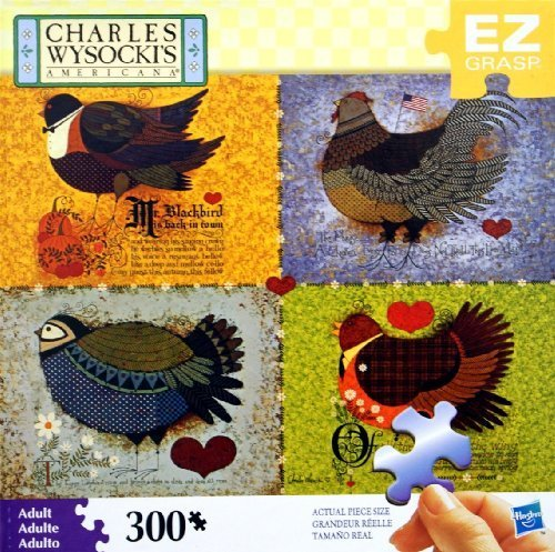 CHARLES WYSOCKI's AMERICANA PUZZLE Feathered Friends 300 Piece MADE IN USA PUZZLE by MB PUZZLE