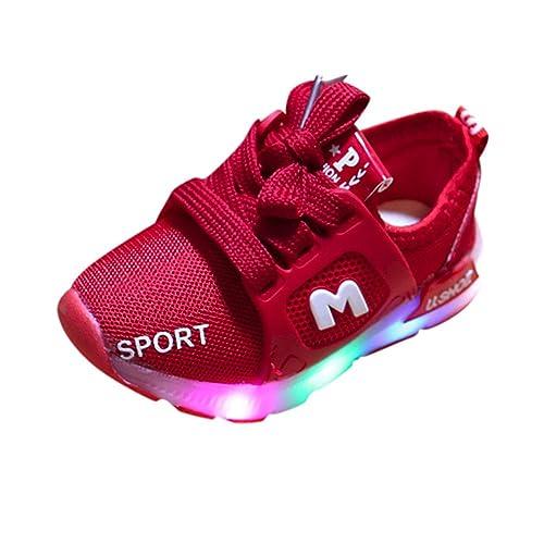 Zapatillas Niños Deportivas, Zolimx Bebe Niña Zapatos Recien Nacido Primeros Pasos Bordado LED Luz Suave y Luminosa Antideslizante Suela Blanda Zapatos: ...