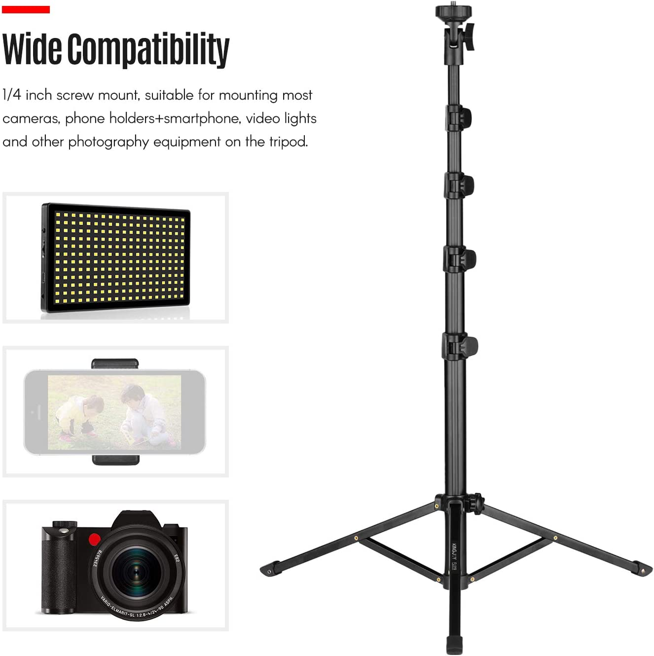 Load 5kg Docooler FL019 Multi-Functional Photography Video Tripod Mobile Live Video Broadcasting Bracket Aluminum Alloy Material 1//4 Inch Screw Mount for Camera Smartphone Video Light Max