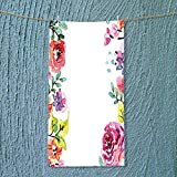 SOCOMIMI Lightweight Towel Decor Collection Floral Frame with Summer Flowers Roses Natural Picture Pink Navy Blue for Home, Hotel and Spa