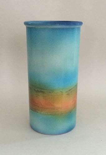 Handmade Cape Cod Turquoise Sunrise Pottery Vase