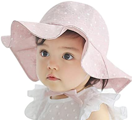 iHomey Baby Toddler Girls Large Brim Sun Hat with Chin Strap Cotton UPF 50+  Sun 8e29317c80a