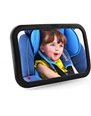 MVPOWER Baby Rear View Mirror with Anti-Wobble Fixing Straps,360 Degree Adjustable Backseat Safety Car Mirror Ideal for Watching Baby at Any Angle