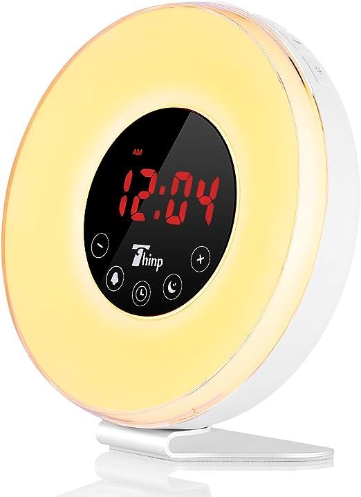Thinp LED Despertador Simulación Sunrise Wake-Up Light Digital de ...
