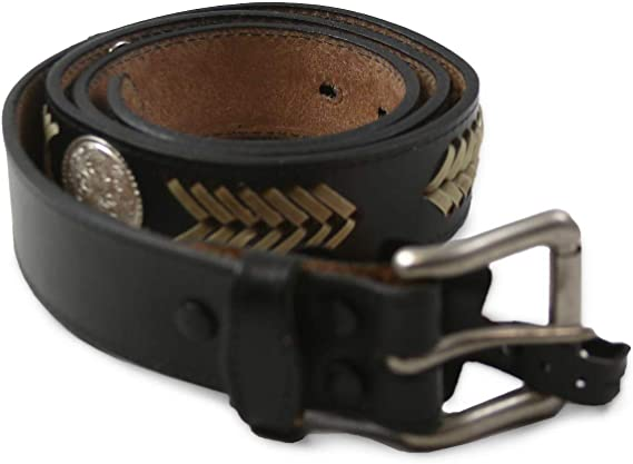 Mens 1-1//2 Genuine Premium Country Leather Belt with Rawhide Weave BULLCO USA Made 3 Floral Conchos R.G