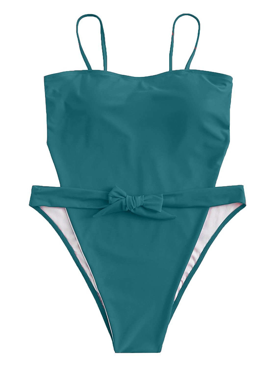 ioiom Women Sexy Spaghetti Strap Self Tie Front High Waist Cut One Piece Swimsuit Green M by ioiom (Image #6)