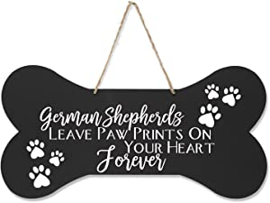 "LifeSong Milestones German Shepherd Pet Quote Dog Bone Wall Hanging Sign, Dog Lovers Gifts for Women, Dog Owner Gift for Home Decor, 8"" x 16"" (Black Leave Paw Prints)"