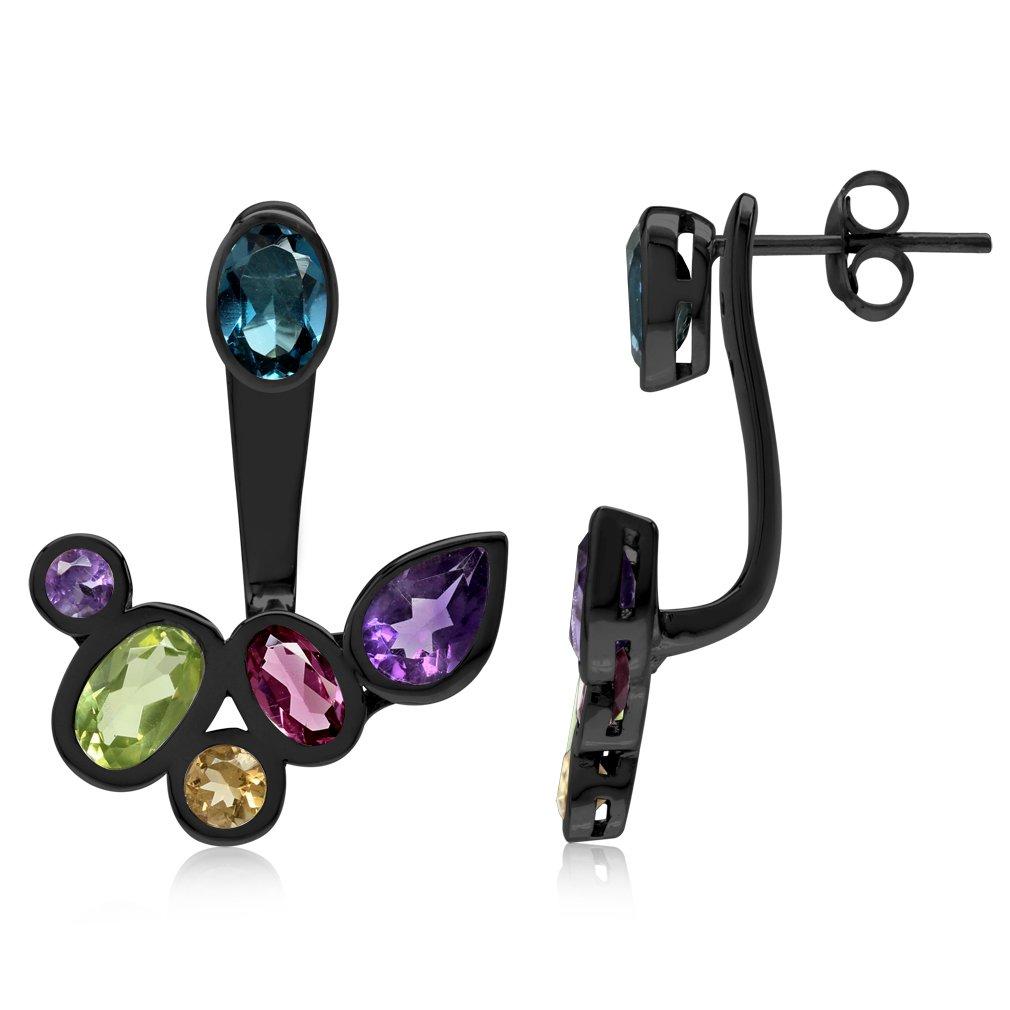 Multi Colored Black Rhodium Plated 925 Sterling Silver Cluster 2-Way Stud & Ear Jacket Earrings