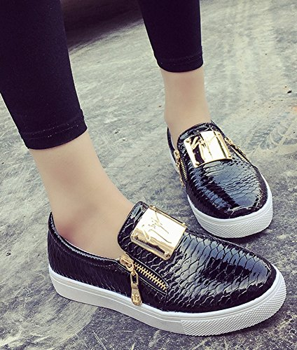 Toe Women's Aisun Cut Round Sneakers Low Comfy Black qztFz7Cn