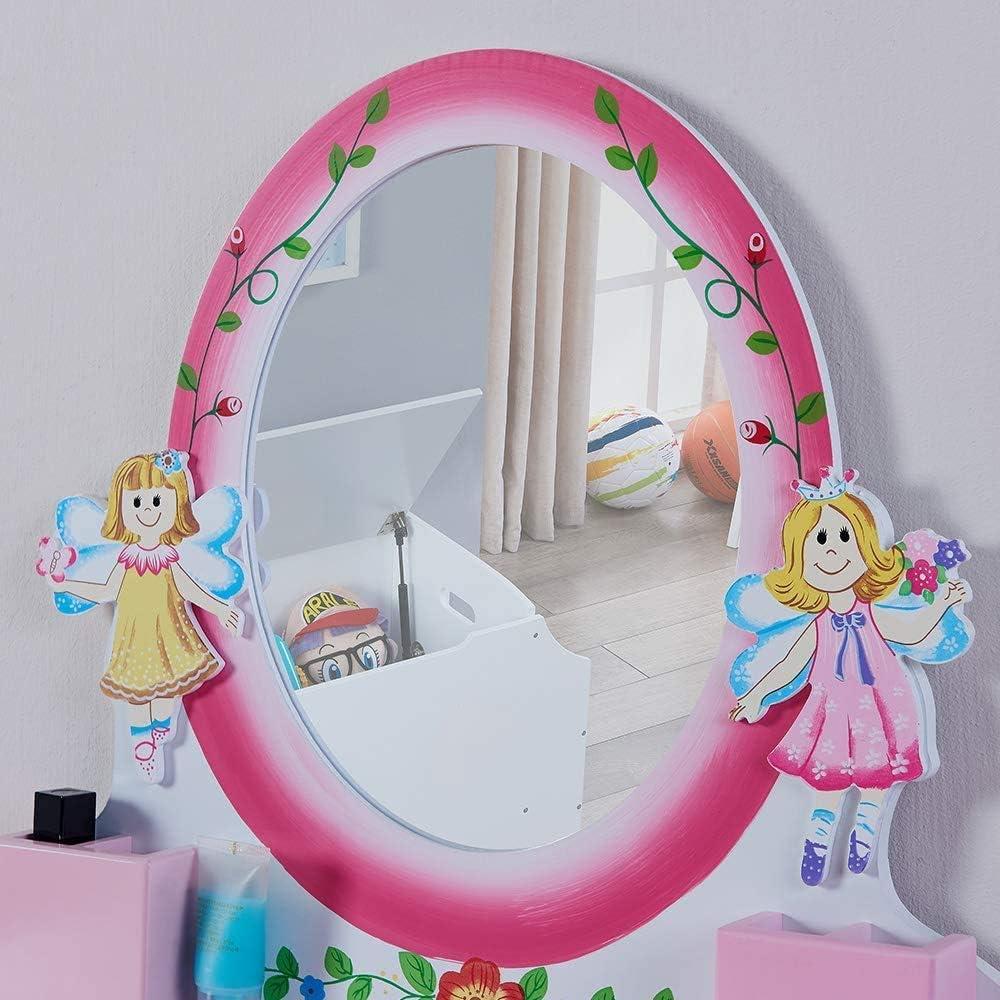 Coiffeuse Enfant Jouet avec Tabouret Bijou Miroir Greensen Coiffeuse de vanit/é Portable 2-en-1 Rose Coiffeuse et Valises pour Enfant- Imitation Coiffeuse Jouet Table de Maquillage