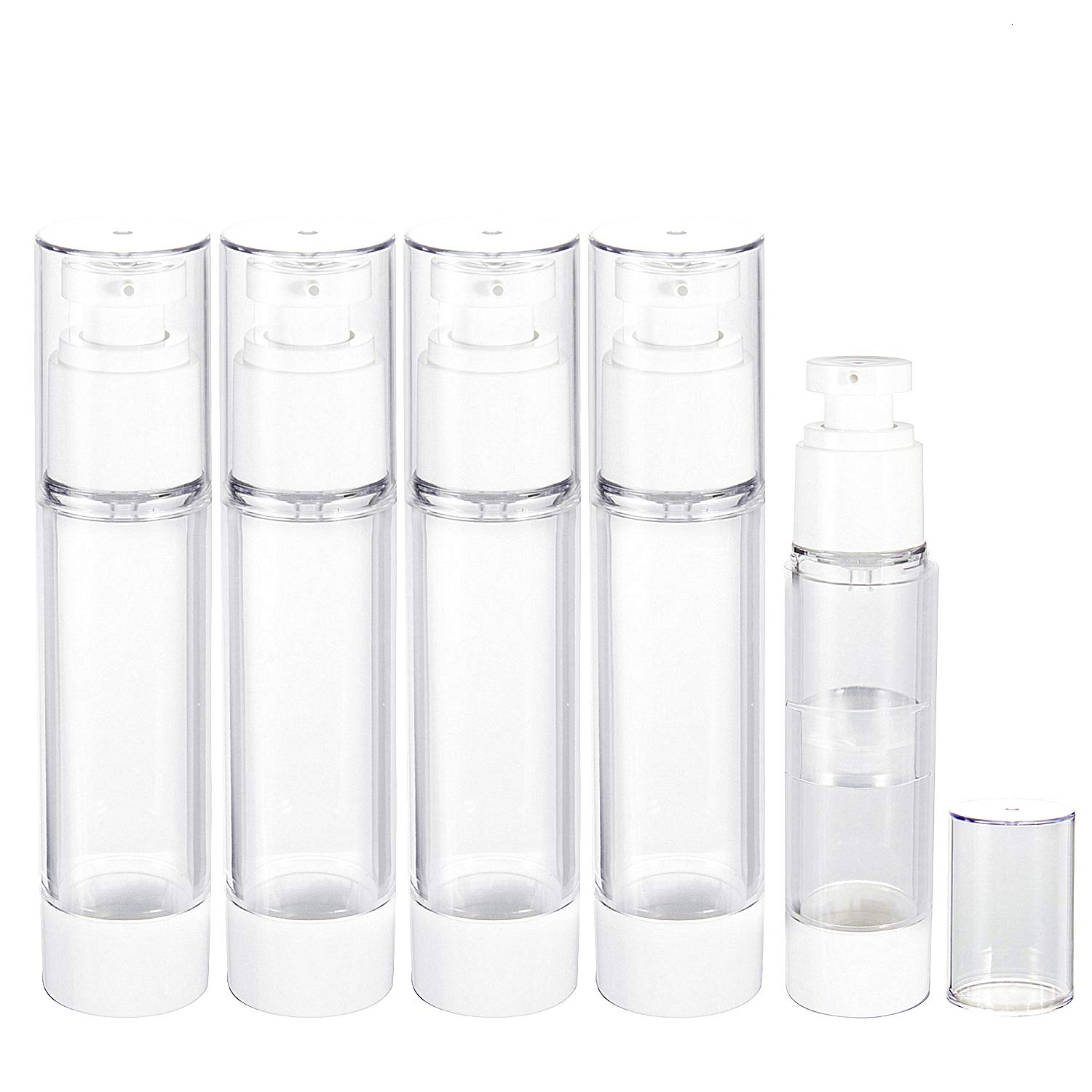 Empty Pump Bottles, RUCKAE Airless Pump Bottle Dispenser 4pcs 3.4oz/100ml + 1pc 1.7oz/50ml, Vacuum Travel Bottles Clear Refillable Container for Lotion, Shampoo, Liquid Soap, Essential Oils and More