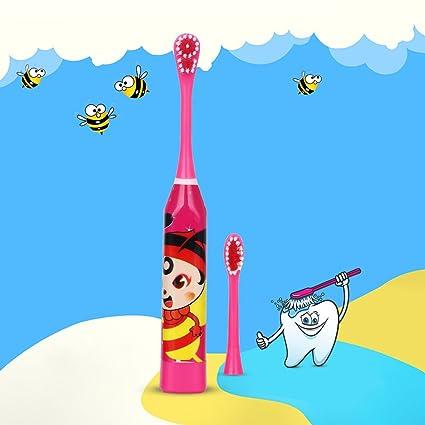cepillo de dientes eléctrico infantil con 2 pieza Heads batería tipo de dibujos animados patrón dientes