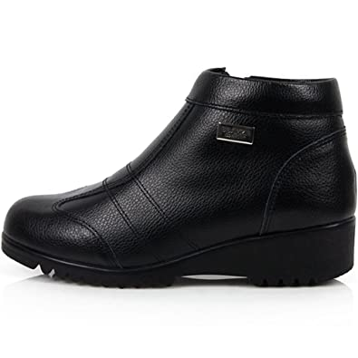 8fb0413468f88 JustOneStyle New Leather Winter Casual Warm Snow Zip Ankle Boots Womens  Shoes Black (5.5)