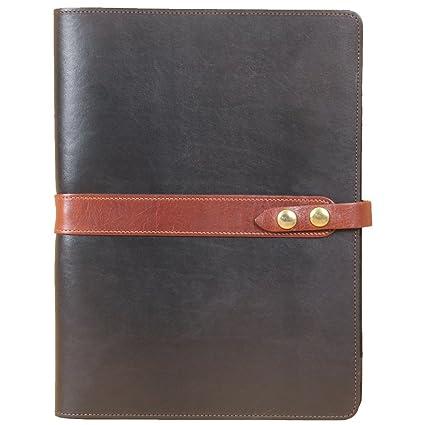 free shipping d7140 c2e01 Leather Business Portfolio Notebook Folio Writing Pad Black Brown No. 18 USA