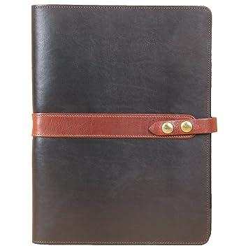 18 Cartera Negocios de Piel portátil, color negro con ribete marrón: Amazon.es: Oficina y papelería