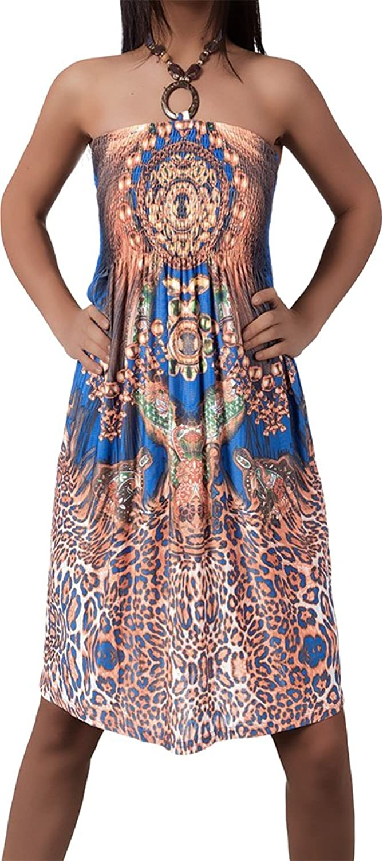 Damen Kleid Minikleid Strandkleid Neckholder Bunt Design Bandeau ...