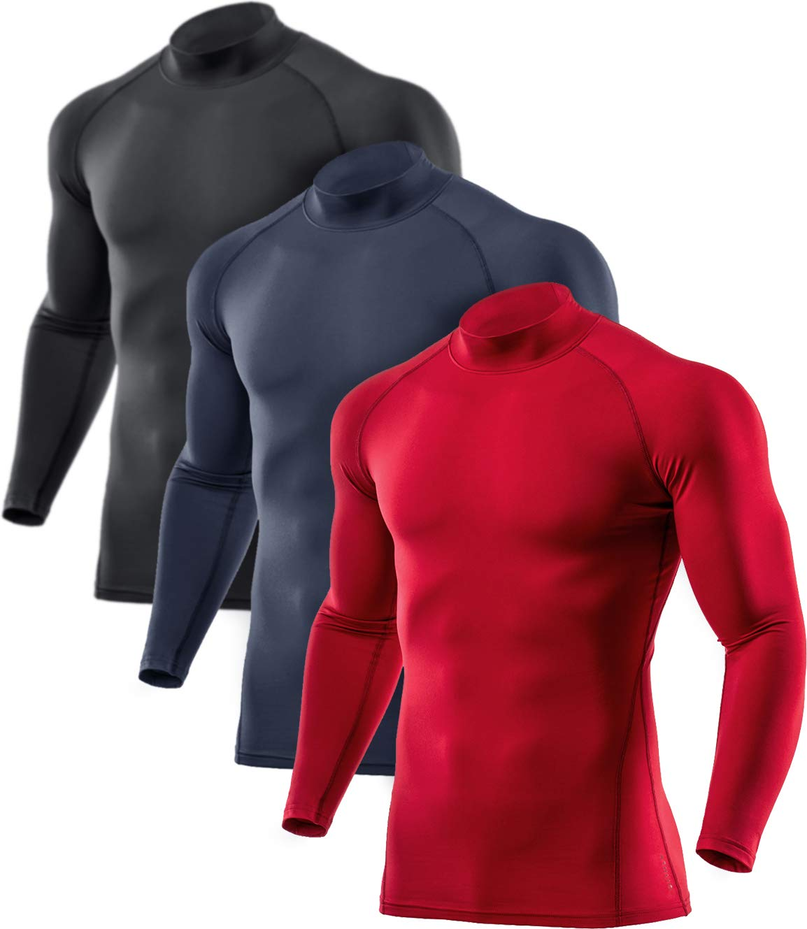 ATHLIO Men's Thermal Wintergear Compression Baselayer Mock Long Sleeve Shirt, 3pack(lyt23) - Black/Charcoal/Red, Medium by ATHLIO