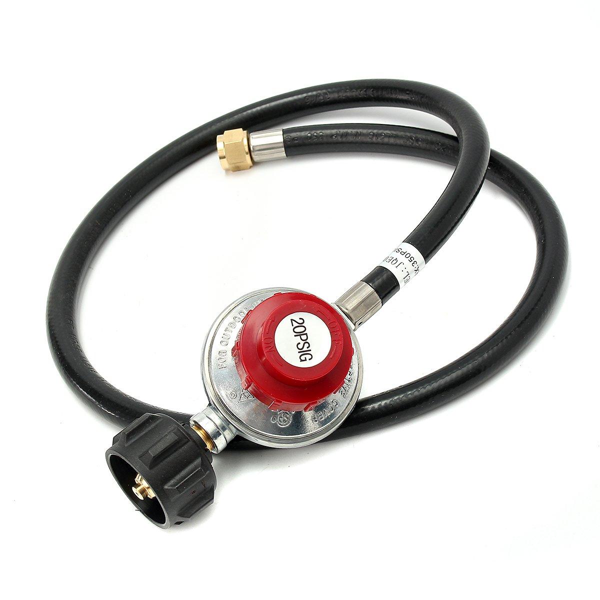20PSI Adjustable Propane Gas Regulator High Pressure LPG Heater Burner Stove Fryer with 4ft Hose