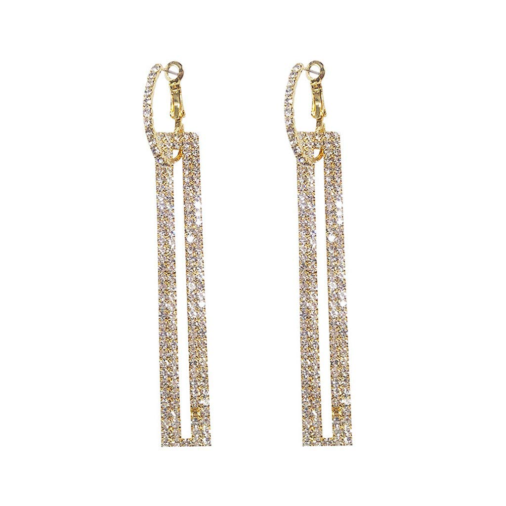 Women's Stainless Steel Long Clear Cubic Stud Earring Rectangle Earrings Hollow Butterfly Pendant Earring