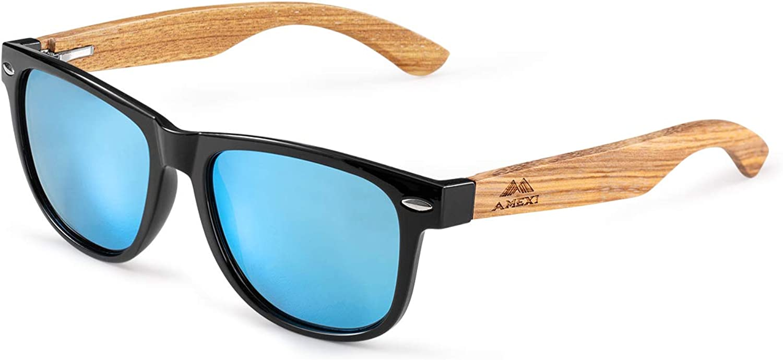 Amexi Gafas de Sol Polarizadas Hombre y Mujere, UV400 Protection, Gafas Ligeras con Patillas de Madera (Blau) …