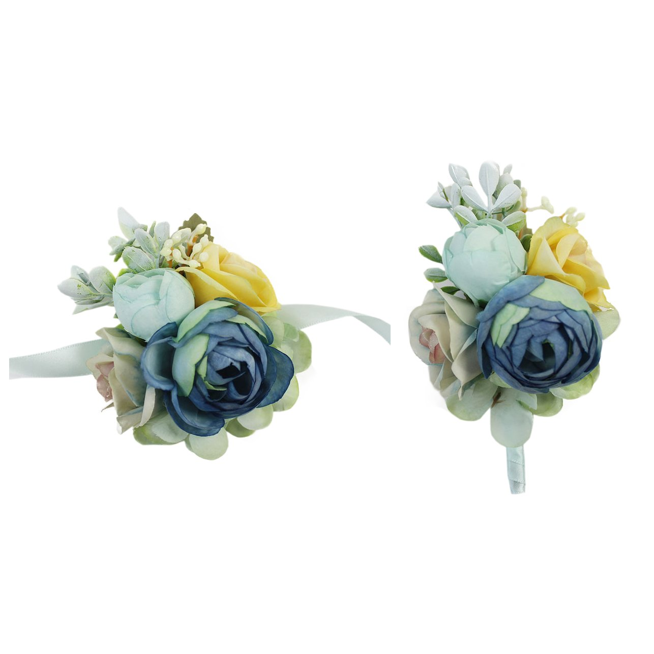 USIX 2pc Pack-Handmade Artificial Peony Flower Wrist Corsage With Satin Wristband for Girl Bridesmaid Wedding Party Prom Flower Corsage Hand Flower (Champagne Wrist Corsage x2)
