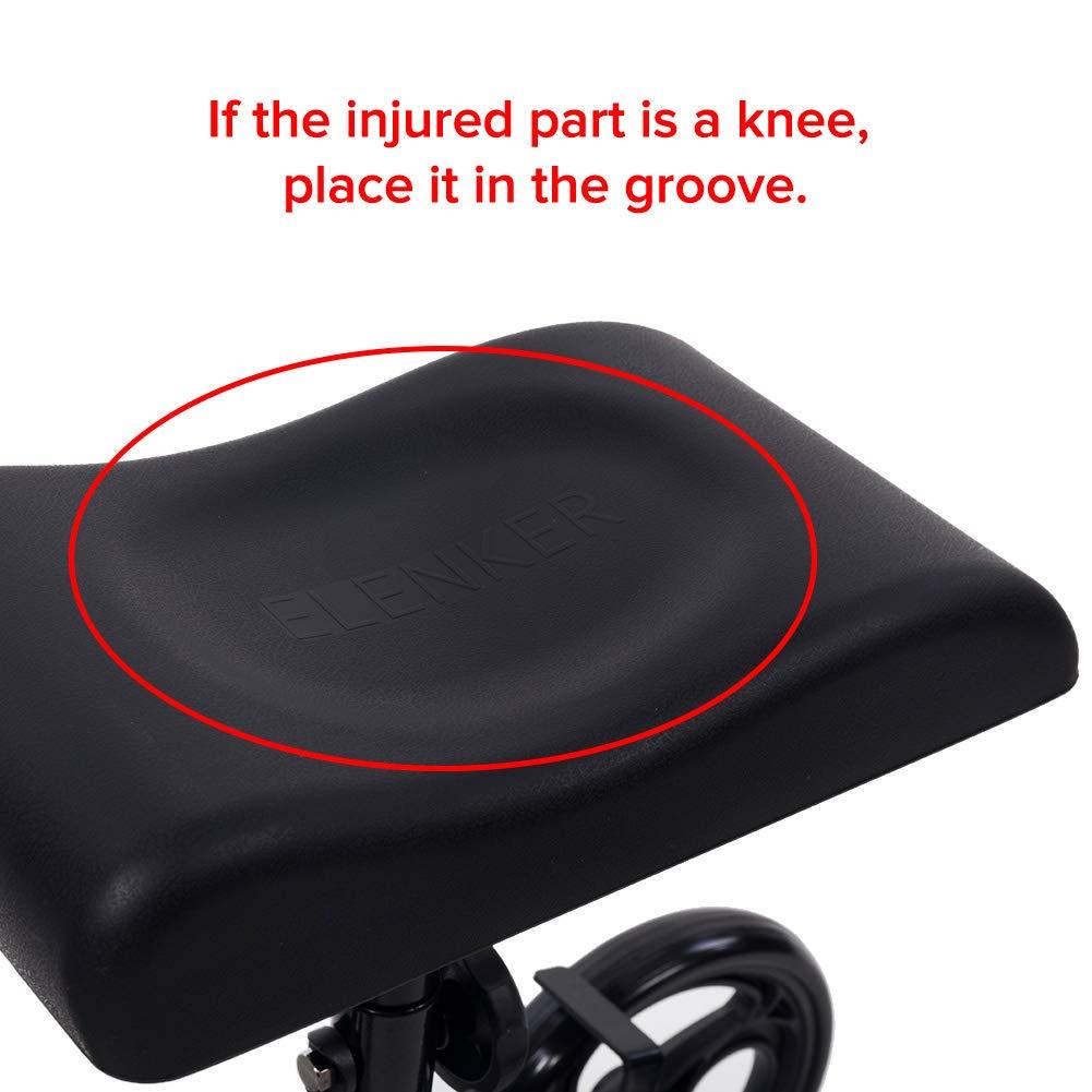 ELENKER Steerable Knee Walker Deluxe Medical Scooter for Foot Injuries Compact Crutches Alternative Black by ELENKER (Image #6)