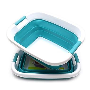 SAMMART Set of 2 Collapsible Laundry Basket/Tub - Foldable Storage Container/Organizer - Portable Washing Bin - Space Saving Hamper - Car Trunk Storage Box (2, Bright Blue)