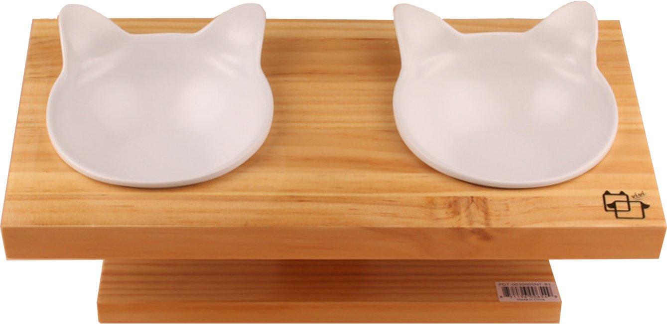 Comedero Pet Petons con 2 cuencos para perros y gatos, madera y cerámica (Blanco): Amazon.es: Hogar