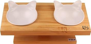 Comedero Pet Petons con 2 cuencos para perros y gatos, madera y cerámica (Blanco