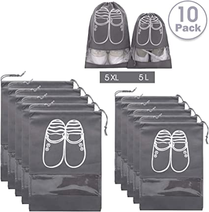 Xddias 12 Piezas Bolsa de Zapatos Zapatos de Viaje Bolsa de Acabado con Ventana Transparente para Hombres y Mujeres Impermeable Bolsa a Prueba de Polvo Zapatos