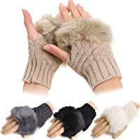Warm Winter Wrist Fingerless Gloves Women Men Mittens Made Of Rabbit Faux Fur