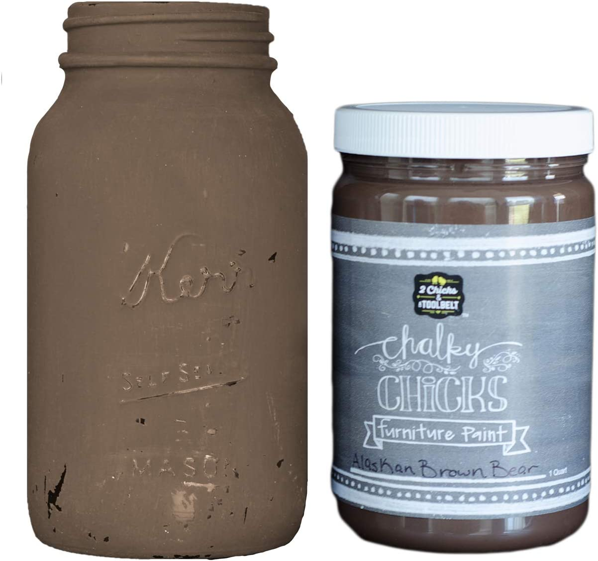 Chalky Chicks | Chalk Finish Paint | Perfect for Furniture, Cabinets, Home Decor, & DIY Craft Projects | 32 oz | Alaskan Brown Bear
